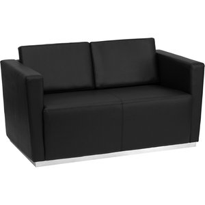 Tri Series Reception Love Seat Black by BIGA (ZB-TRINITY-8094-LS-BK-GG)