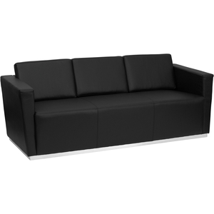 Tri Series Reception Sofa Black by BIGA (ZB-TRINITY-8094-SOFA-BK-GG)