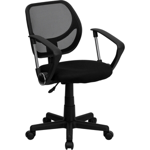 Mid-Back Black Mesh SpaSalon Technician Chair with Arms by BIGA (WA-3074-BK-A-GG)