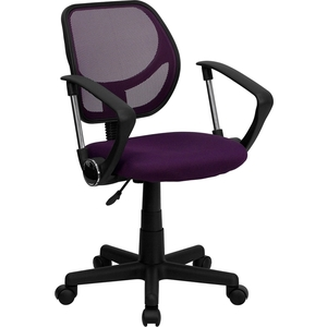 Mid-Back Purple Mesh SpaSalon Technician Chair with Arms by BIGA (WA-3074-PUR-A-GG)
