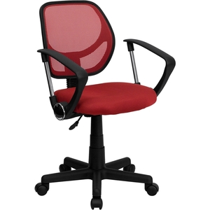 Mid-Back Red Mesh SpaSalon Technician Chair with Arms by BIGA (WA-3074-RD-A-GG)