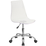 Cleary Transparent Acrylic Task Chair with Chrome Base by BIGA (CH-98018-CLR-GG)