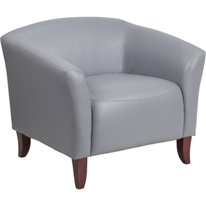 Gray Leather Guest Chair Reception Chair by BIGA (111-1-GY-GG)