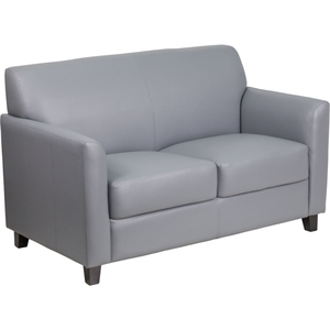 Gray Leather Guest Loveseat Reception Loveseat by BIGA (BT-827-2-GY-GG)