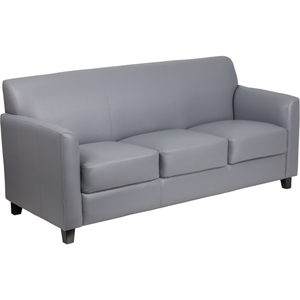Gray Leather Guest Sofa Reception Sofa by BIGA (BT-827-3-GY-GG)