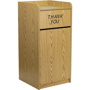 Trash Receptacle with Tray Top in Oak Wood Finish by BIGA (MT-M8520-TRA-OAK-GG)
