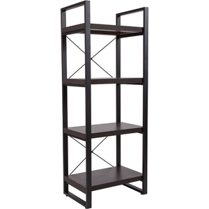 Charcoal Wood Grain Finish Retail Display Shelf with Black Metal Frame by BIGA (NAN-JH-1734-GG)