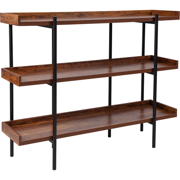Rustic Wood Grain Finish Retail Display Shelf with Black Metal Frame by BIGA (JN-2542B3-GG)