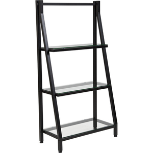 Glass Bookshelf with Black Metal Frame by BIGA (NAN-JN21719-B-GG)