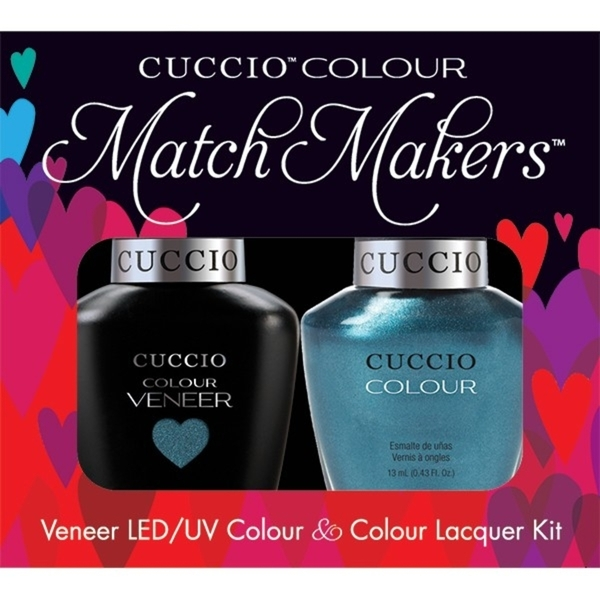 Cuccio Match Makers - Fountains of Versailles Kit - 1 Nail Lacquer + 1 Matching Veneer Soak Off LEDUV Nail Colour 0.43 oz. Each (663266)