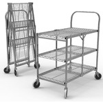 "Three-Shelf Collapsible Wire Utility Cart 33.75"" W x 19.5"" D x 39.5"" H (WSCC-3)"