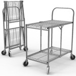 "Two-Shelf Collapsible Wire Utility Cart 33.75"" W x 19.5"" D x 39.5"" H (WSCC-2)"