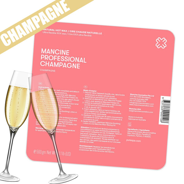 Champagne Hot Wax - Stripless - Premium Hard Wax for Sensitive Areas / 500 g. / 1.1 lbs. by Mancine Professional <font color=FFFFFF>(DHWCH)</font>