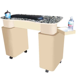 The Lucy Granite Top Wood Finish Nail Table (D-204)