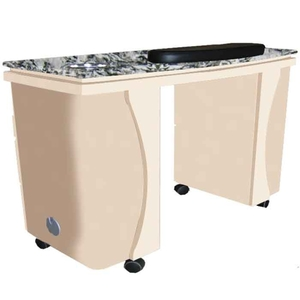 The Alice Granite Top Wood Finish Nail Table (D-208)