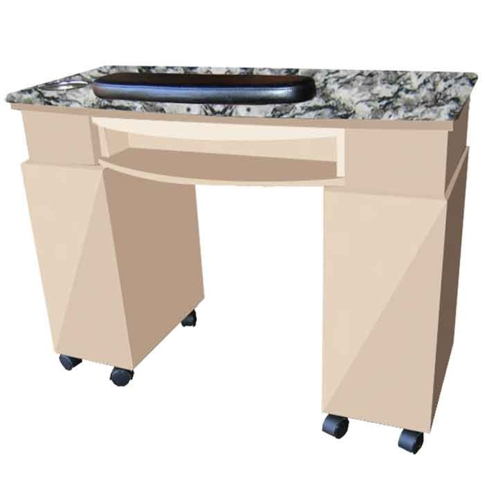 The Scarlett Granite Top Wood Finish Nail Table with Gel Light Cut ...