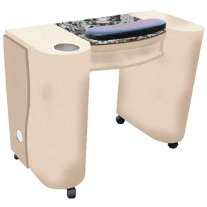 The Laura Granite Top Wood Finish Nail Table with Gel Light Cut-Out (D-302)