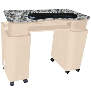 The Caroline Granite Top Wood Finish Nail Table with Gel Light Cut-Out (D-303)