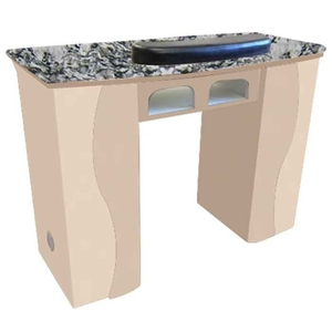 The Claire Granite Top Wood Finish Nail Table with 2 Gel Light Cut-Outs (DN-101)