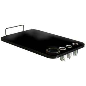 Black Laminate Cart Topper with Built-In Styling Tool Holders by SalonTuff (LTT-B)
