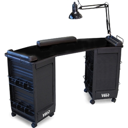 Boomerang Manicure Table with Double Storage by SalonTuff (BDMT)