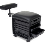 Pedi-Assist Plus Rolling Storage with Padded Seat and Adjustable Foot Rest by SalonTuff (PA-P)