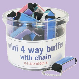 "2"" Mini 4-Way Black Buffer Block Keychain - Individually Sleeved with UPC 930 Mega Case (10130-cs)"