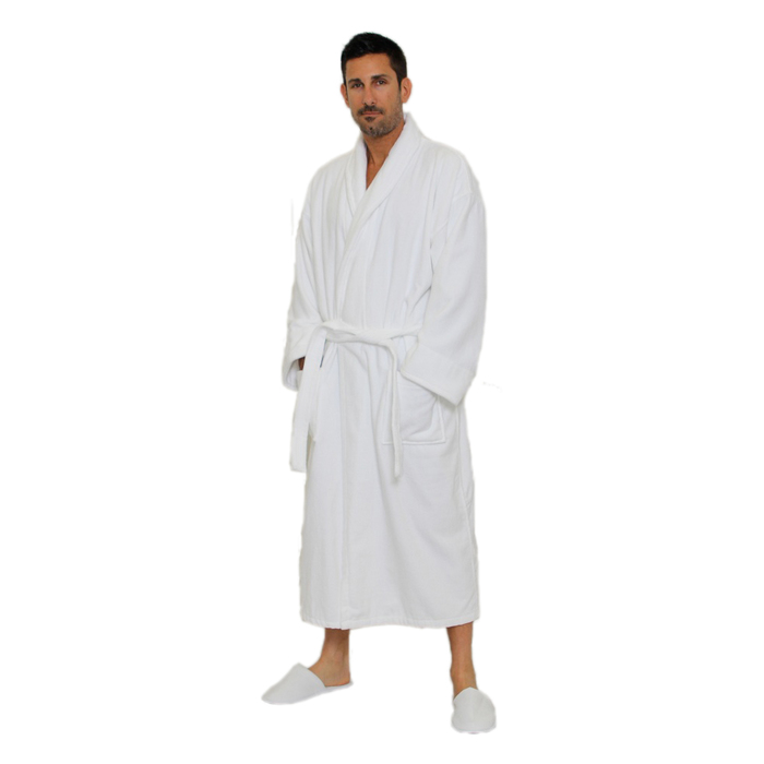 Velour Shawl Robe - White   100% Turkish Cotton Terry Cloth Inside   Terry  Velour Outside by M Spa (2VSXXWH) 1268719ec