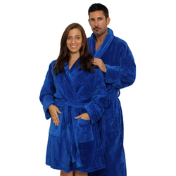 Velour Shawl Robe - Royal Blue 100% Turkish Cotton Terry Cloth Inside & Terry Velour Outside (2VSXXRY)