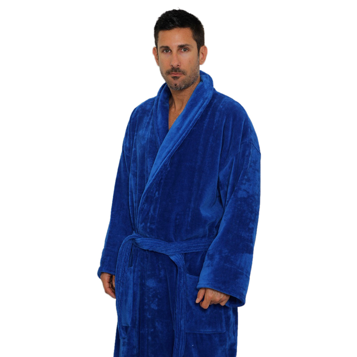 Velour Shawl Robe - Royal Blue   100% Turkish Cotton Terry Cloth Inside    Terry Velour Outside by M Spa (2VSXXRY) c756713ea