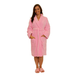 Velour Shawl Robe - Pink 100% Turkish Cotton Terry Cloth Inside & Terry Velour Outside (2VSXXPI)