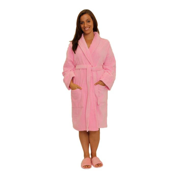 50d84a56d2 Velour Shawl Robe - Pink 100% Turkish Cotton Terry Cloth Inside   Terry  Velour Outside (2VSXXPI)