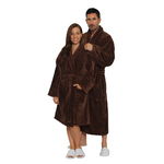 Velour Shawl Robe - Dark Chocolate 100% Turkish Cotton Terry Cloth Inside & Terry Velour Outside (2VSXXDC)