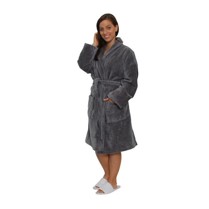 Velour Shawl Robe - Cool Gray   100% Turkish Cotton Terry Cloth Inside    Terry Velour Outside by M Spa (2VSXXCG) 0358b1bb0