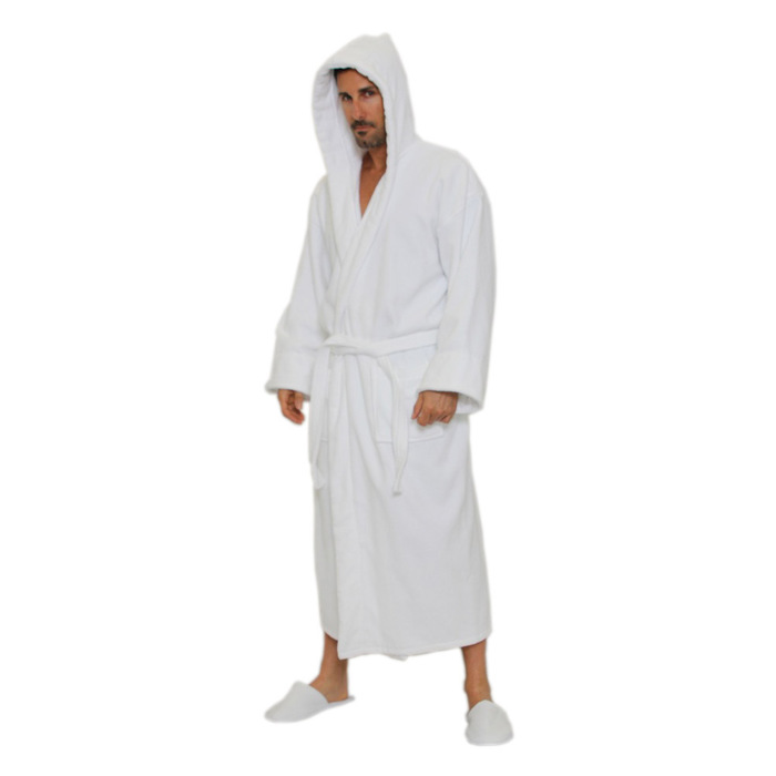 4697f84b1a Velour Hooded Robe - White 100% Turkish Cotton Terry Cloth Inside   Terry  Velour Outside (2VHXXWH)