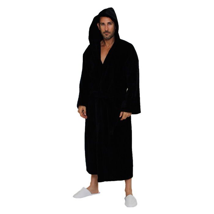 Velour Hooded Robe - Black 100% Turkish Cotton Terry Cloth Inside ...