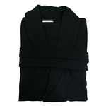 Diamond Waffle Robe with Shawl Collar - Black 100% Cotton Waffle Inside & Outside (2WSXXBK)