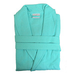 Diamond Waffle Robe with Shawl Collar - Aqua 100% Cotton Waffle Inside & Outside (2WSXXAQ)