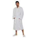 Square Waffle Kimono Robe - White 65% Natural Cotton and 35% Polyester Waffle Inside & Outside (2WK1XWH)