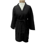 Women's Knee Length Square Waffle Kimono Robe - Black 65% Natural Cotton and 35% Polyester (2WK9XBK)
