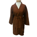 Women's Knee Length Square Waffle Kimono Robe - Brown 65% Natural Cotton and 35% Polyester (2WK9XBR)