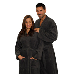 Terry Kimono Robe - Charcoal 100% Cotton Terry Cloth Inside & Outside (2TKXXCL)