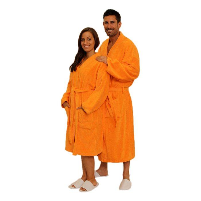 Terry Kimono Robe - Orange 100% Cotton Terry Cloth Inside   Outside  (2TKXXOR) d2c6903ad