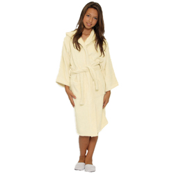 Kid's Terry Hooded Robe - Beige 100% Cotton Terry Cloth Inside & Outside (2KTXXBG)