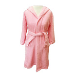 Kid's Terry Hooded Robe - Pink 100% Cotton Terry Cloth Inside & Outside (2KTXXPI)