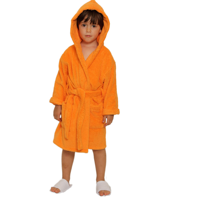 bac445c1b7 Kid s Terry Hooded Robe - Orange   100% Cotton Terry Cloth Inside   Outside