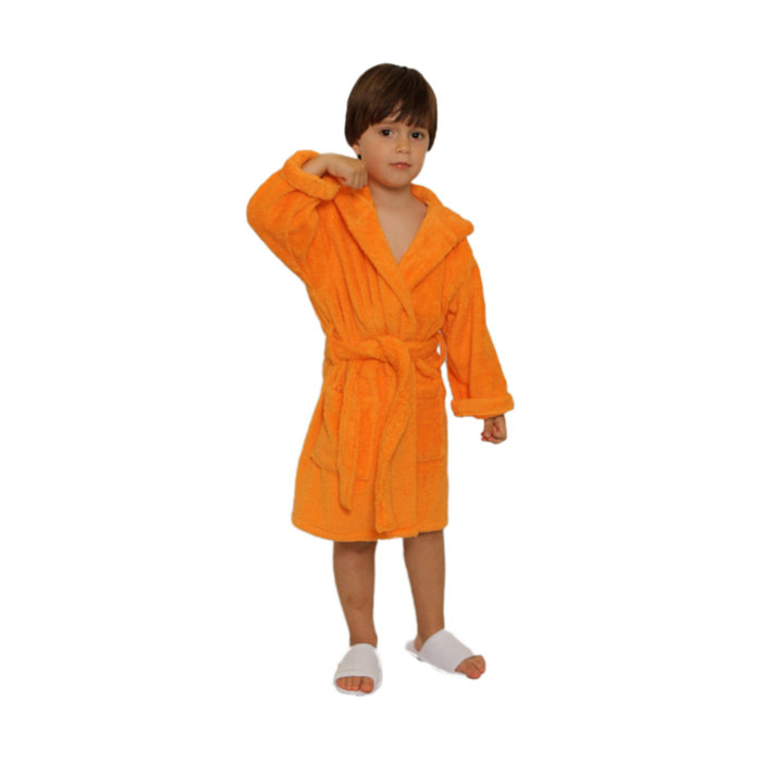 Kid s Terry Hooded Robe - Orange 100% Cotton Terry Cloth Inside ... 9920cfb0f