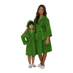 Kid's Terry Hooded Robe - Apple Green 100% Cotton Terry Cloth Inside & Outside (2KTXXPG)