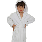 Kid's Velour Hooded Robe - White 100% Cotton Terry Cloth Inside & Velour Outside (2KVXXWH)