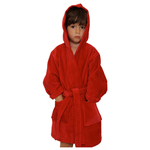 Kid's Velour Hooded Robe - Red 100% Cotton Terry Cloth Inside & Velour Outside (2KVXXRE)